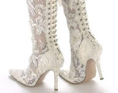 Stivali Wedding Boots With Illusion Sides Pointy Toes Wearable High Heels And A Lace Up Back
