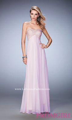 Long Empire Waist Strapless La Femme Prom Dress Style: LF-22363