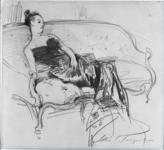 """John Singer Sargent - Madame X, Sketch. The development of the portrait of Madame Pierre Gautreau, or """"Madame X"""". Wonderful to see the thought process. Fine Art Drawing, Figure Drawing, Painting & Drawing, Portrait Of Madame X, Drawing Sketches, Art Drawings, John Singer Sargent Watercolors, Harvard Art Museum, Drawing Studies"""