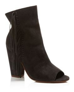 Dolce Vita Mazarine Fringe Open Toe High Heel Booties | Bloomingdale's