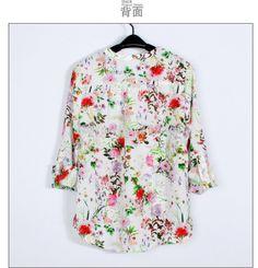 2014 new fashion women's long sleeve shirts V neck flower printing casual chiffon loose blouses,free shipping US $14.49