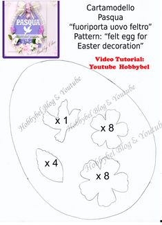 DIY Easter decoration: felt egg with flowers, shabby chic idea Easter Art, Easter Crafts, Wool Embroidery, New Years Eve Party, Art School, Decoupage, Baby Shower, Diy, Shabby Chic