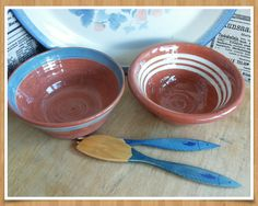 Vintage traditional finnish handmade pottery bowls, a set of two by PawhillTreasures on Etsy