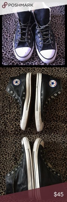 Leather converse chuck Taylor high tops size 13 Quick wipe down, and they cleaned up nicely… Some real TLC and they'll clean up beautifully, plenty a soul left matter fact they're barely worn, could use a new laces I'll include a pair, just the right amount of broken in, comfortable but still clean and sharp, check photos carwfully and ask any questions !! Converse Shoes Sneakers