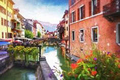 Picturesque Canals of Old Annecy France #Annecy #France #French #Frenchtowns #picturesque #canals #canaltown #AnnecyFrance #homedecor #wallart #canvasprints