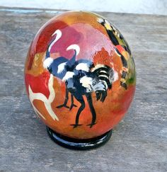 African ornament home decor African gift ostrich egg hand The Ostrich, Ostriches, Look Vintage, East Africa, Earth Tones, African Art, Painting & Drawing, Christmas Bulbs, Exotic