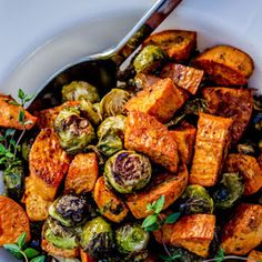 Roasted Sweet Potatoes and Brussels Sprouts.