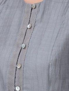 Grey Button-down Chanderi Kurta Buy Grey Button down Chanderi Kurta Shell: Lining: Cotton Up To Chudidhar Neck Designs, Neck Designs For Suits, Neckline Designs, Dress Neck Designs, Designs For Dresses, Sleeve Designs, Chudidhar Designs, Blouse Designs, Punjabi Suit Neck Designs