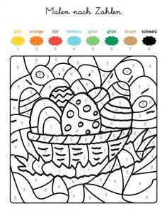ausmalbild malen nach zahlen: osterküken ausmalen kostenlos ausdrucken   szablony   easter