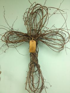 Handmade Grapevine cross at De'France only $45.00