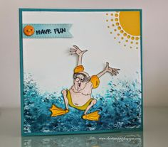 LOVE THIS!!  Ai Golden Oldies...Jump In.  Art Impressions beach themed or pool card with cool sun.