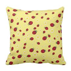 #girly - #girly cute ladybug and daisy flower pattern yellow throw pillow