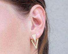 veste de l'oreille, boucles d'or, deux boucles d'oreilles triandgle, vestes or plaqué argent plaqué géométrique oreille, paire d'or earjackets par ShaniJacobiJewellery sur Etsy
