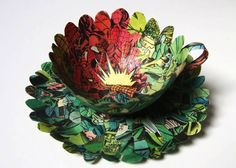 Cecilia Levy upcycles old Spiderman comics into delicate teacups and saucers!