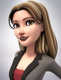 3d business woman smile test