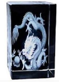 Crystal Glass Laser Etched Chinese Zodiac Dragon