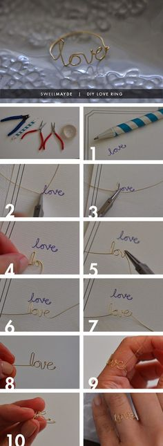 Build your own rings from wire with your own handwriting!