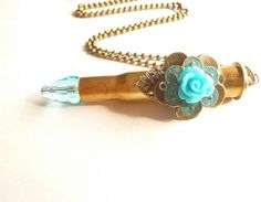 Turquoise Blue Bullet Jewelry Ammo Casing Blue by FunkyMaMaJewelry