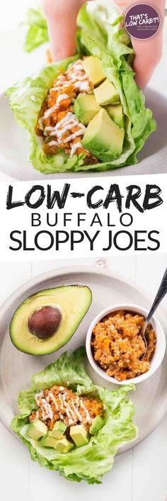 These Low Carb Buffalo Sloppy Joes wrapped in crispy lettuce cups are the perfect dinner. | Low Carb Recipes | Low Carb Mealprep | Healthy Recipes ~ https://www.thatslowcarb.com #LowCarb #LowCarbRecipes #Healthy #LowSugar #recipes