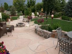 nice hardscape. built-in seating and planting areas...