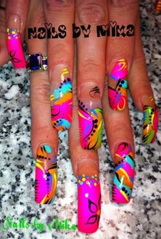 A little long for my taste--but i love these colors. Nails by Mika: neon colors design. Get a closer look @ http://my.coolnailsart.com/photo/2121245:Photo:638306