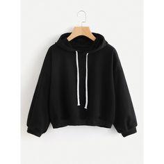 Hooded Drawstring Sweatshirt ($13) ❤ liked on Polyvore featuring tops, hoodies, sweatshirts, black, long sleeve hooded sweatshirt, sport sweatshirts, pullover hoodies, hoodie sweatshirts and sweatshirt hoodies