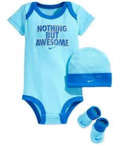 Nike Baby Boys' 3-Piece Awesome Bodysuit, Hat & Bootie Set