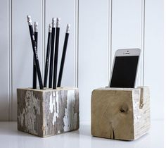 Reclaimed barn post desk set. Natural wood desk accessories for an eco-chic rustic modern office.
