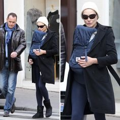 Carla Bruni spotted in Organic Baby Carrier-- Twill Navy w/Midnight Lining