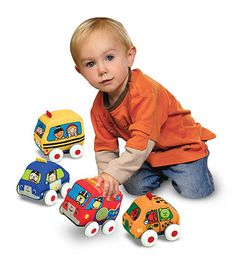 Melissa and Doug pull back cars. Gabriel is obsessed with these!