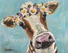 Cow art print from original canvas cow painting.  Farmhouse cow art, Cow with flower crown art print, cow art print for kitchen, nursery etc by HippieHoundUSA on Etsy