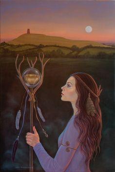 Lady of Avalon by Cheryl Yambrach Rose-Hall Deviant Art, Coven, Die Nebel Von Avalon, Wicca, Mists Of Avalon, Glastonbury Tor, Tarot, Pagan Art, Celtic Tree