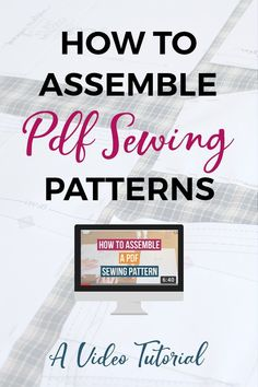 Learn how to assemble PDF sewing patterns with this video tutorial. I show you how to join pdf sewing pattern pages in this six minute video tutorial. Great for sewing beginners or anyone who has never joined together a PDF sewing pattern before. #sewing #sewingprojects #sewingblog #pdfpatterns Sewing Classes For Beginners, Beginner Sewing Patterns, Basic Sewing, Modern Sewing Patterns, Easy Sewing Projects, Sewing Basics, Sewing Tips, Sewing Tutorials, Sewing Hacks