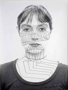 Annegret Soltau Creates Delicate Line Drawings On Her Face With Thread- I like how the geometric lines draw out the structure of the face. Not ceramic, but a very cool concept. 9/29