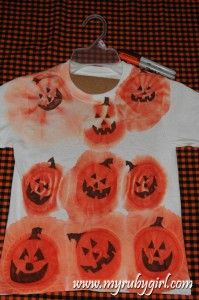 Pumpkin Tie Dye with Sharpie or permanent marker and rubbing alcohol.