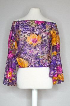 NORA TOP - AMETHYST GARDEN Shoulder Cut, Mesh Fabric, Bell Sleeves, Amethyst, Floral Prints, Cover Up, Dreams, Fashion Outfits, Crop Tops