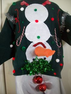 Naughty Ugly Christmas Sweater Men Snowman L w/ Red Balls I can make any size for you