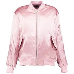 Boohoo Boutique Evie Satin Bomber Jacket ($52) ❤ liked on Polyvore featuring outerwear, jackets, puffy jacket, blouson jacket, pink satin jacket, pink bomber jacket and pink duster coat