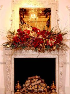 Paul Thomas Flowers created this stunning arrangement for the baroque fireplace at the Ritz London hotel in England.