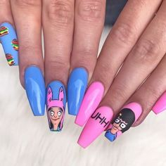 is part of Prom nails Blue White - Prom nails Blue White Disney Acrylic Nails, Summer Acrylic Nails, Best Acrylic Nails, Get Nails, Hair And Nails, Gorgeous Nails, Pretty Nails, Solar Nails, Fire Nails