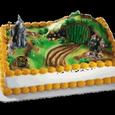 Lord Of The Rings Cake With Frodo Sam And Gandalf Birthday For
