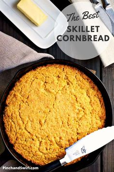 True Southern Style Skillet Cornbread is tender and light inside and buttery crisp on the outside. It's taken me years to perfect this recipe and I'm so excited to share it! (yeastless, no yeast bread) Best Bread Recipe, Quick Bread Recipes, Real Food Recipes, Yummy Food, Potluck Side Dishes, Side Dishes Easy, Easy Thanksgiving Recipes, Thanksgiving Side Dishes, Skillet Cornbread