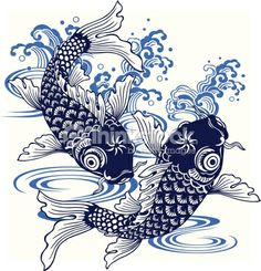 I described a carp in Japanese atmosphere of a picture, Art Koi, Fish Art, Japanese Quilts, Japanese Textiles, Fish Drawings, Animal Drawings, Japanese Cartoon, Japanese Art, Fish Vector