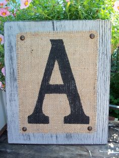 Rustic, Farmhouse, Customized Monogram Letter Sign, WEDDING Table SIGN, cottage chic, Any letter A-Z