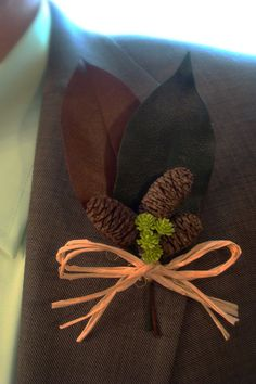 Two Leaf Pine Cone Boutonniere/Corsage by bellamariacreations, $12.50