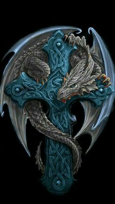 Celtic cross dragon by Anne Stokes . *Instead of cross, the dragon is protecting a little girl (representation of me) tattoo* Anne Stokes, Dragons, Dragon's Lair, Dragon Artwork, Dragon Tattoo Designs, Celtic Dragon Tattoos, Tattoo Celtic, Dragon Pictures, Dragon Images