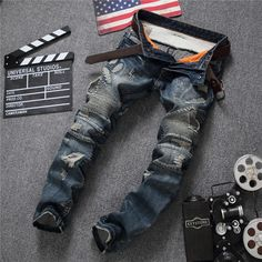 >> Click to Buy << 2017 brand European American Style fashion mens jeans luxury Men's denim trousers Slim Straight blue gentleman jeans for men #Affiliate