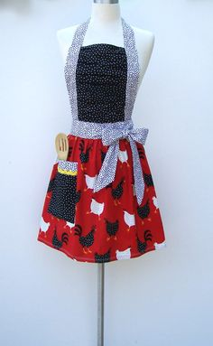 Country Kitchen Full Apron with Ruched Top - Cute Chicken and Rooster  Retro Apron Red and Black