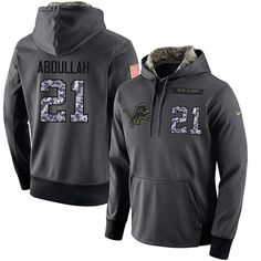 NFL Men s Nike Detroit Lions  21 Ameer Abdullah Stitched Black Anthracite  Salute to Service Player d926a680d