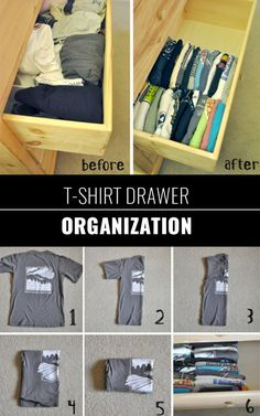 DIY Closet Organization Ideas for Messy Closets and Small Spaces. Organizing Hacks and Homemade Shelving And Storage Tips for Garage, Pantry, Bedroom., Clothes and Kitchen | T-Shirt Drawer Organization | diyjoy.com/...